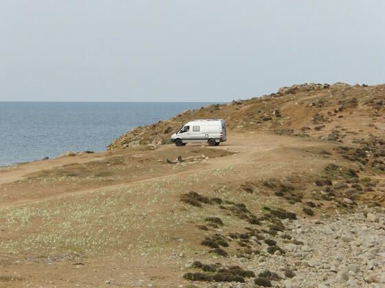 einsamer Stellplatz an der Westküste Sardiniens